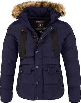 Geographical Norway Mens Winter Jacket with Hood Faux Fur Collar - Blue - Large