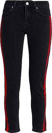 Zoe Karssen Zoe Karssen Woman Striped Mid-rise Skinny Jeans Black Size 24W-32L