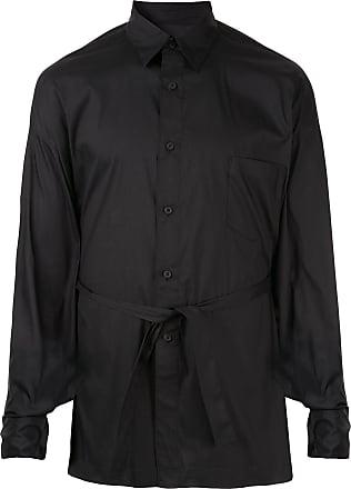 Fumito Ganryu Camisa slim com amarração na cintura - Preto