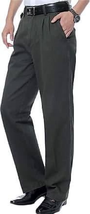 H&E Mens Casual Plus Size High Waist Pleated Straight Pants Trousers Dark Grey L