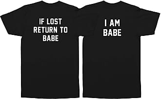 Sanfran Clothing Sanfran - If Lost Return to Babe I Am Babe Top Matching Couple Set T-Shirt - Extra Large & Extra Large/Black
