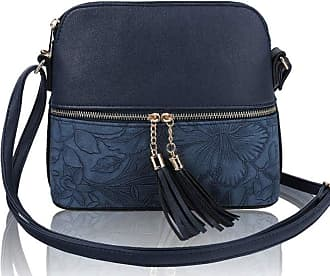 LeahWard Womens Quality Faux Leather Cross Body Bags Tassel Shoulder Bag Handbags For Holiday Party 1061 (Navy Floral)