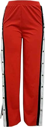 Inlefen Womens High Waist Pants Wide Leg Trousers Leisure Snap Button Side Open Trousers Red XL