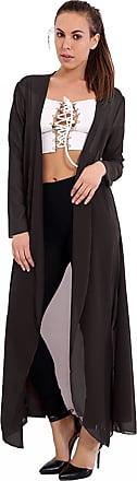 Generic Women Ladies Girls Open Front Waterfall Chiffon Long Cardigan Coat Maxi Top Plus Size UK 8-26 (XXXL (24-26 UK), Black)
