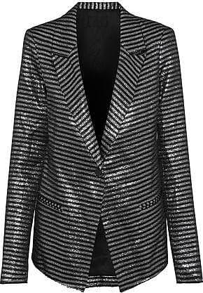 Rta Rta Woman Iggy Striped Lamé Blazer Gunmetal Size XS