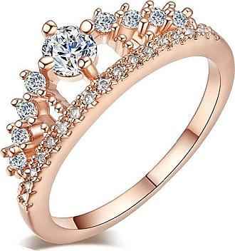 QUINTRA New Fashion Gold Pretty Crown Lady Crystal Ring Princess Ring Rose Gold Silver (Rose Gold, 7)