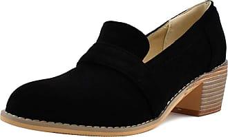 Mediffen SUCREVEN Women Casual Block Heel Oxford Shoes Slip On Mid Heel Pumps Black Size 10.5 UK/48