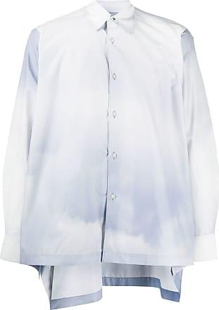 Fumito Ganryu Camisa mangas longas com estampa de nuvem - Azul