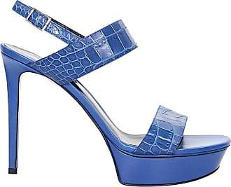8f7817b0ce8 Saint Laurent Blue Yves Saint Laurent Leather Platform Sandals