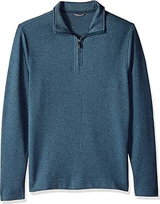 Van Heusen Mens Flex Long Sleeve 1/4 Zip Ottoman Solid Shirt, Turquoise Stone, Small