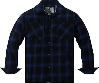 WenVen Mens Long Sleeve Fleece Lined Button Down Plaid Flannel Jacket Shacket Blue Large