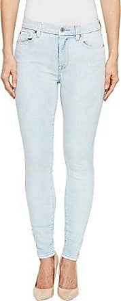 7 For All Mankind Womens High Waist Ankle Skinny with Extreme Grinded Hem, Bleached Out, 30