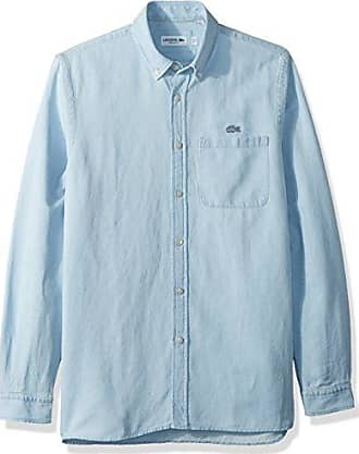 dbdd53626c5102 Lacoste Mens Long Sleeve Cotten Linen Button Down Collar Regular Fit Woven  Shirt