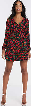 In The Style wrap front mini dress in floral-Multi