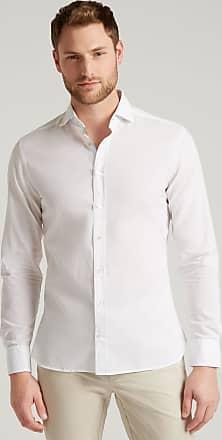 Hackett Mens Cotton-Linen Shirt   Medium   White/Green