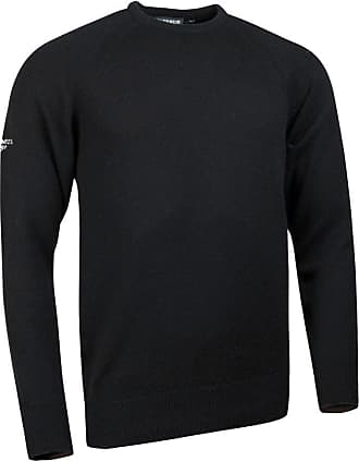 Glenmuir Mens MKO7006CN Lambswool Blend Crew Neck Golf Sweater-Black-XXL - Chest 48-50in
