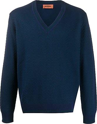 Missoni Suéter gola V chevron em tricô - Azul