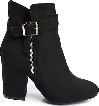 Ikrush Misa Buckle Faux Suede Ankle Boots Black UK 8