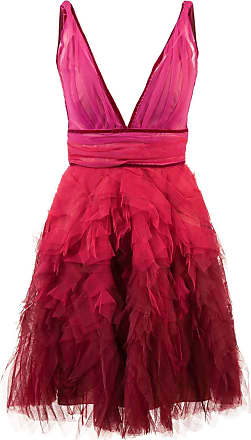 Marchesa ruffle tulle dress - Red
