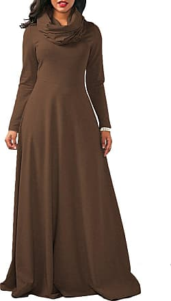 iShine Womens Casual Long Sleeve Turtle Neck Full Length Maxi Dress Loose Plain A-line Party Evening Flare Long Dress