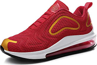 LanFengeu Men Trainers Shock Absorbing Non Slip Low Top Lace up Flat Sneakers Mesh Breathable Casual Running Shoes Red