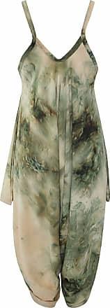 Islander Fashions Women Sleeveless Strappy Printed Lagenlook Romper Jumpsuit Ladies Fancy Cami Baggy Harem Playsuit Dress Green Tie Dye Medium/Large