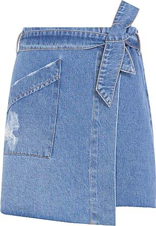 Cantão Saia Jeans Mini Clochard - Azul
