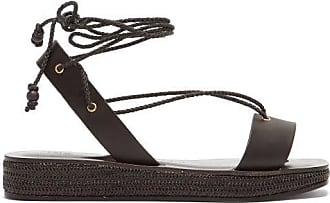 ÁLVARO GONZÁLEZ Tolga Leather Wraparound Flatform Sandals - Womens - Black