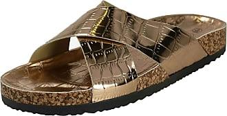 Spot On Ladies Open Toe Slip On Mule - Rose Gold Synthetic - UK Size 8 - EU Size 41 - US Size 10