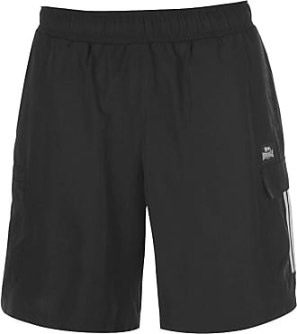 Lonsdale Mens Cargo Shorts Mesh Lining (Black, XXXX Large)