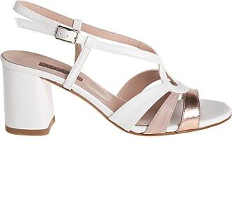 Albano sandalo tacco pelle bianca, 36 / bianco