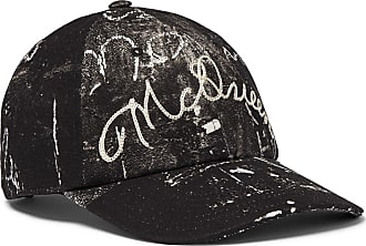 Alexander McQueen Leather-trimmed Embroidered Printed Cotton-canvas Baseball Cap - Black