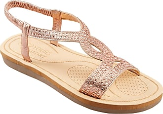 Yours Clothing Clothing Womens Plus Size Diamante Twist Sandals Size 10EEE Gold
