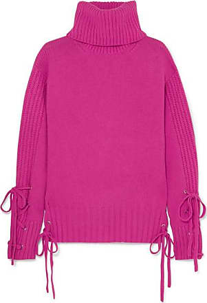 McQ by Alexander McQueen Lace-up Wool And Cashmere-blend Turtleneck Sweater - Fuchsia
