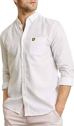 Lyle & Scott Long-Sleeved Cotton Linen Shirt (White) Medium