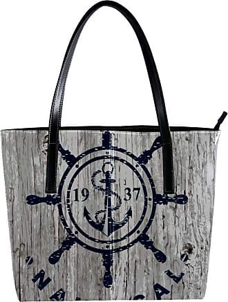 Nananma Womens Bag Shoulder Tote handbag with Nautical Marine Badge Design Pattern Zipper Purse PU Leather Top-handle Zip Bags