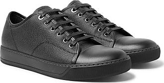 Lanvin Cap-toe Pebble-grain Leather Sneakers - Black