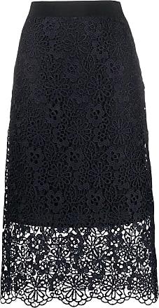 Victoria Beckham Falda azul marino con detalles de encaje