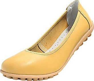 da24301c9a7e72 Hee Grand Damen Maedchen Sommer Elegante Geschlossene Ballerinas Sommer  Slipper Schuhe Gelb Chinesische 39
