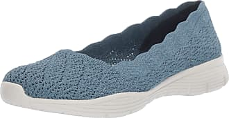 Skechers Womens Seager-Infield-Scalloped Engineered Knit Skimmer Ballet Flat