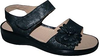 Cushion-Walk Ladies Lightweight Summer Sandal with Velcro Strap (UK5, Black matt)
