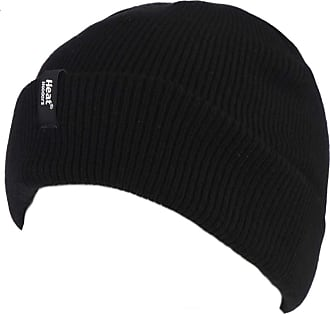 Heat Holders Mens 1 Pack Turn Over Cuff Thermal Hat One Size Black