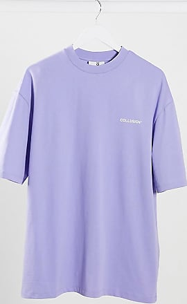 Collusion Unisex - Violettes Oversized-T-Shirt mit Logo-Print