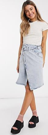Monki Ami - Gonna a portafoglio di jeans in cotone organico blu candeggiato