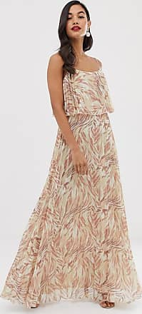 Asos maxi dress with double layer pleat crop top and strap in print-Multi