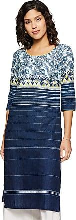Aurelia Womens Cotton Straight Kurta (19AUA10871-500768_ Blue_ Xx-Large)