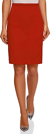 oodji Collection Womens Basic Straight Skirt, Red, UK 10 / EU 40 / M
