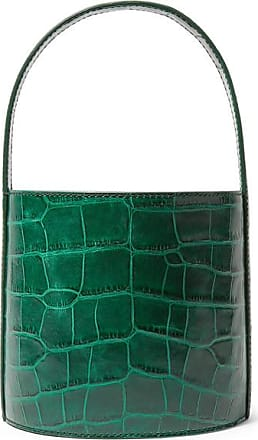 Staud Bissett Croc-effect Leather Bucket Bag - Dark green