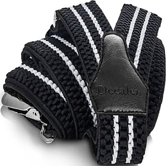 Decalen Mens Braces with Very Strong Clips Heavy Duty Suspenders One Size Fits All Wide Adjustable and Elastic Y Style (Black White)