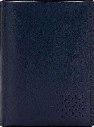 DuDu Portafoglio Uomo Vera Pelle Bufalo Verticale Trifold con Portamonete Porta Carte e Banconote Blu